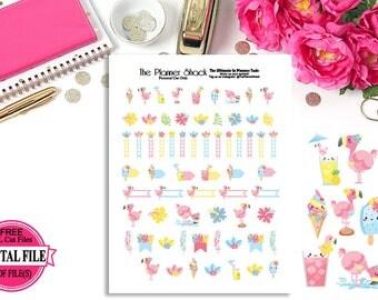 Kawaii Flamingos // Printable Planner Stickers // Flamingos // Summer // Cute Kawaii