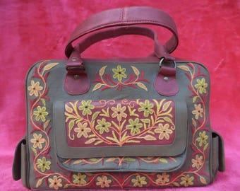 Leather Embroidered Satchel Bag