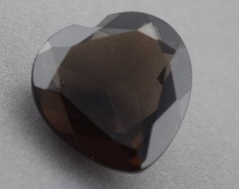 Faceted Smokey Quartz Heart