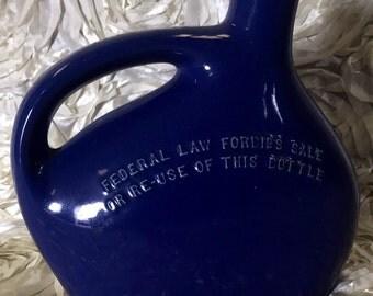 Vintage blue liquor bottle jug decanter mid century modern mohawk liqueur