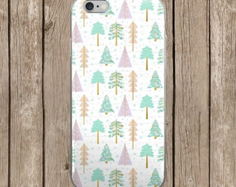 Green and Purple Christmas Trees Pattern Design iPhone Case   iPhone 5/5s/SE   iPhone 6/6s   iPhone 6 Plus/6s Plus