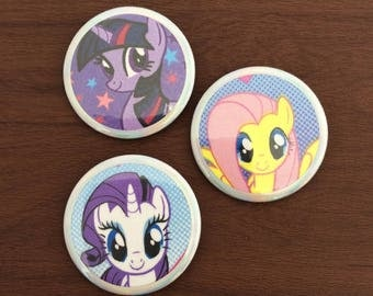 My Little Pony Fabric Print Button Pins
