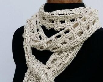 Cream silk crochet scarf, summer mesh scarf, silk and rayon, long crochet scarf, crochet accessory, women's accessory