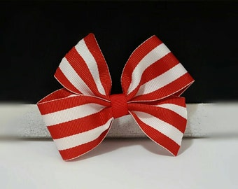 Simple Bow - Red Striped