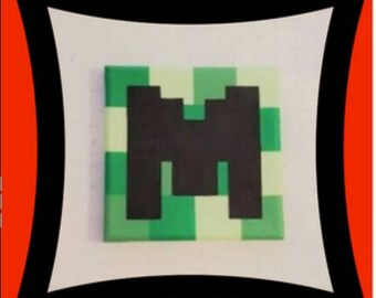 Personalized Name Display on Square Canvas Blocks | Minecraft Inspired Theme