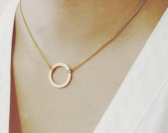 Circle Charm Necklace with Double Layered Chain,  Dainty Necklace, Minimalist Necklace, Layering Necklace