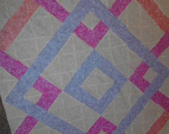 QUILT TOP ONLY Baby Block Baby Throw Quilt Blanket Homemade Quilt Cream Tan Pink Purple Crib Quilt Modern Quilt Contemporary Quilt