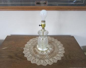 small glass lamp, clear glass lamp, diamond glass short lamp