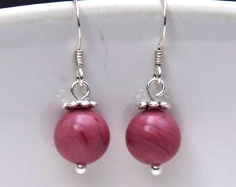 Rhodochrosite Earrings - Gemstone earrings - beaded earrings - Sterling silver hooks and pins - dangle earrings, drop earrings