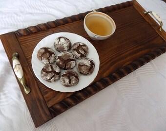 Wood Tray With Handles, Wood serving tray, breakfast tray, handmade wood tray, wooden tray, Coffee Table Tray, Decorative Tray