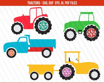 Tractor SVG cutting files, DXF, Tractor Svg, Tractor monogram, Farmer Svg, Cricut, 4H svg- Svg, Dxf, Ai, Pdf, Eps - Instant digital download