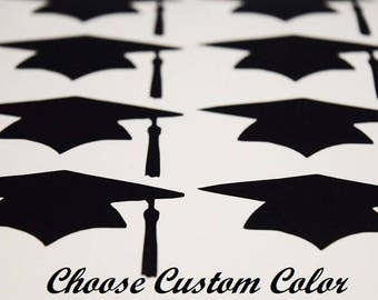 Graduation Cap Decals, Graduation Cup Decals, Graduation Party, Class of 2018, Graduation Hat, Vinyl Graduation Cup Stickers, School Colors