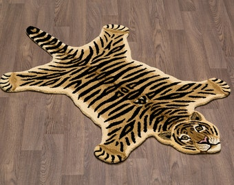 Beautiful Handmade Tiger Skin Wool Rug