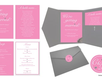 Pink and Grey Wedding Invitation