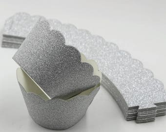 Glitter Cupcake Wrappers - Silver Wedding Party Cupcake Liners. Carnival Birthday Cup Cake Decorations