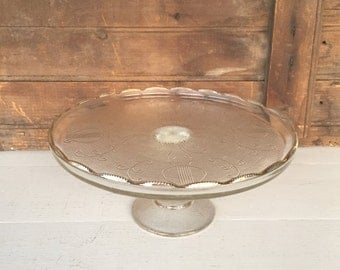 Vintage Glass Cake Stand, Cake Plate, Harp Pattern by Jeannette, Centerpiece, Wedding Decor, Cottage Chic, Rustic Decor