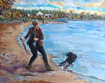 Original Oil Painting, Vancouver Beach