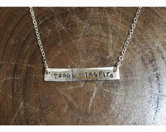 """925 Sterling Silver Teach*Inspire Necklace 