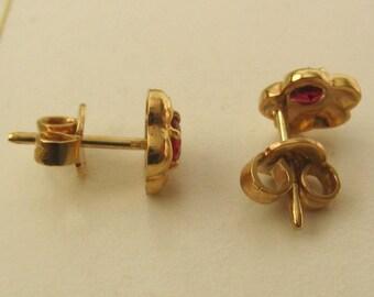 Genuine 9ct Solid Gold JULY Birthstone RUBY Stud EARRINGS