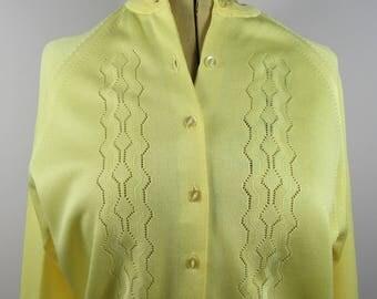Vintage 1960s LEMON Button Through POINTELLE Detail CARDIGAN-Uk 12/14