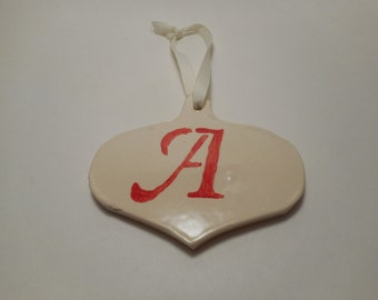 Personalized First Initial Ceramic Ornament A, Handmade Pottery, Hand Painted, Christmas, Decoration