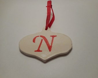 Personalized First Initial Ceramic Ornament N, Handmade Pottery, Hand Painted, Christmas, Holiday Decor
