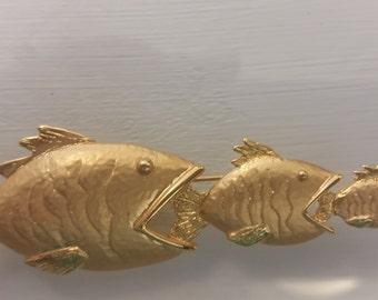 JJ Jonette Gold Tone Three Fish Brooch Pin