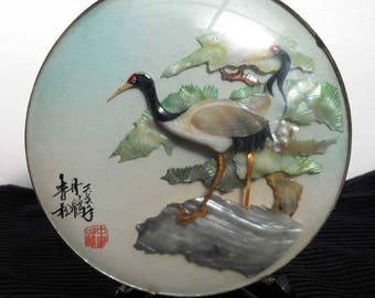 Shell Art Stork Asian Vintage Gorgeous