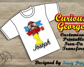 Customized Curious George Printable Iron-On Transfer-DIGITAL *NEW COLORS Now Available: Original -or- Pink/Purple!