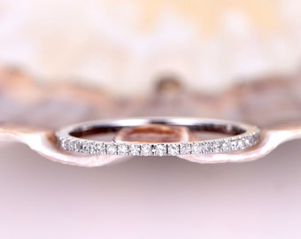 Diamond wedding band,diamond ring,full eternity ring,Petite French micro pave stack matching band,engagement ring,solid 14k white gold,petit