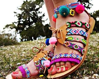 Hippie sandals,Pompom sandals, pom pom sandals,boho sandals,friendship bracelets