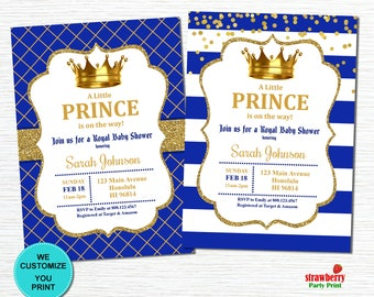Royal Prince Baby Shower Invitation, Little Prince, Royal Blue & Gold, Gold Glitter, Personalized Printable Invitation, C26