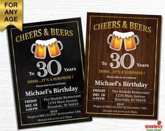 Cheers and Beers to 30 years, 30th Birthday Invitation for him, Surprise 30th Birthday Invitation for Men, Chalkboard, Wooden, A21