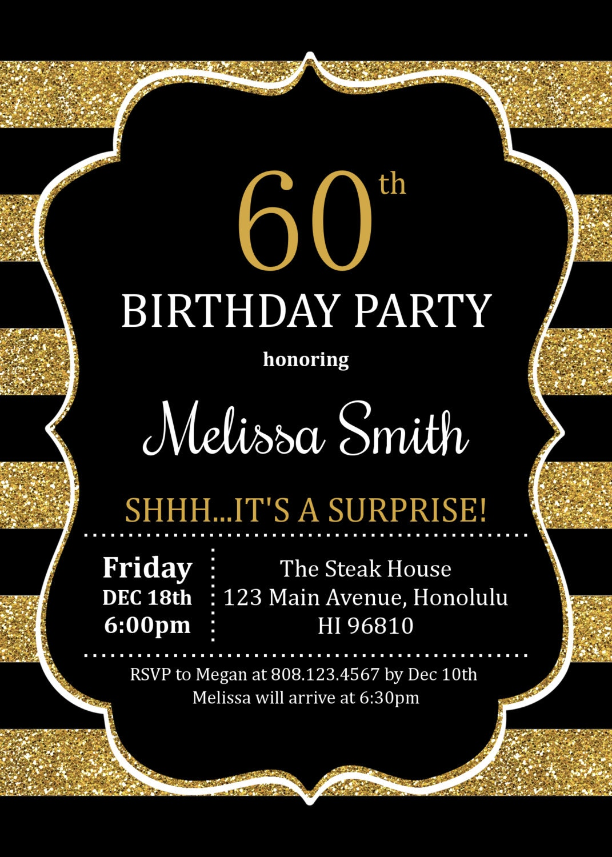 60th Birthday Invitations Surprise Birthday Invitation Adult
