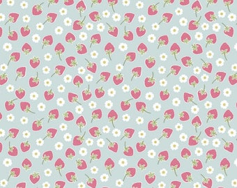"By The HALF YARD - Picnic in The Park by Lewis and Irene, Pattern #A155.1 Strawberries on Blue, 5/16"" White Flowers, Dark Pink Strawberries"