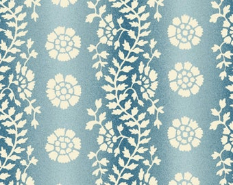 By The HALF YARD - Sara's Stash by Sara Morgan for Blue Hill Fabrics, Pattern #7409-7 Floral Vine Stripe in Tonal Blue and White