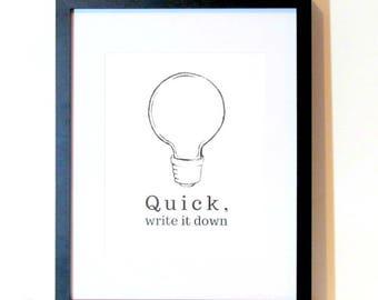 Home Office Decor Lightbulb Write It Down Art Print Dorm Room Decor Brainstorming Motivational Wall Art Instant Download