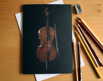 Cello pencil crayon greetings card, illustrated by Steve Barker. Designed and printed in the UK
