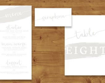 Subtle Powder White Place Cards, Table Numbers, Menu Cards - Wedding - White Wedding - Table Name - Name Card - Wedding Stationery