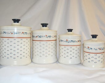 Vintage Aluminum Kromex Homestead 4 Piece Country Canister Set – Vintage 1980's