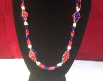 Vintage Beadwork Necklace - Red, White & Blue (USA)