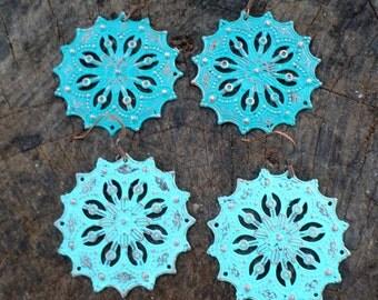 Filigree Round Dangle Drop Turquoise Patina Earrings
