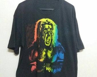 Vintage Ultimate warrior tee 1996 big face/black/X large/wwe/wwf