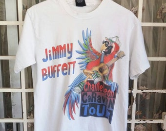 Vintage 90s jimmy buffet country band spellout/white/large/made in usa