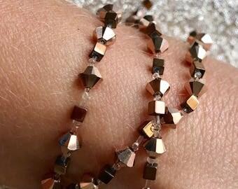 Rose Gold Multiway stretchy Bracelet, Necklace, Headband, Ankle Bracelet