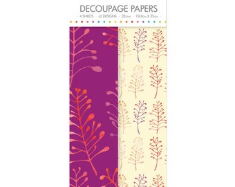 Bold Foliage Pattern Decoupage Papers x 4 - Simply Creative