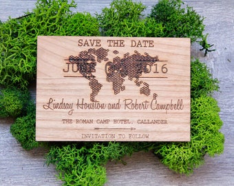 Wedding Save the dates, Wooden Laser Engraved Hexagon World Map, Custom Save the dates, Rustic Save the dates, World Map Save the dates