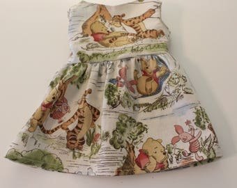 """Handmade Winnie The Pooh Dress to fit Like American Girl Doll Clothes Madame Alexander 18"""" dolls, Pooh Bear, Tigger, Eyore, Bitty Baby"""