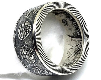 Mexican Libertad 1 onza Hand crafted .999 silver coin ring Size 10-16
