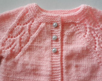 Handmade Hand Knitted Light Pink Color Sweater/cardigan for Baby Girl 3-6 month